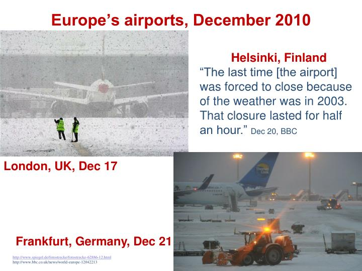 Europe's airports, December 2010