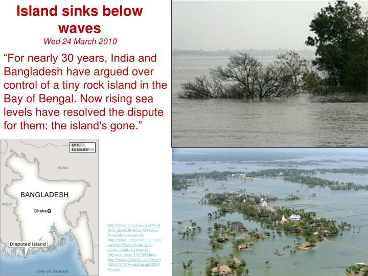 Island sinks below waves