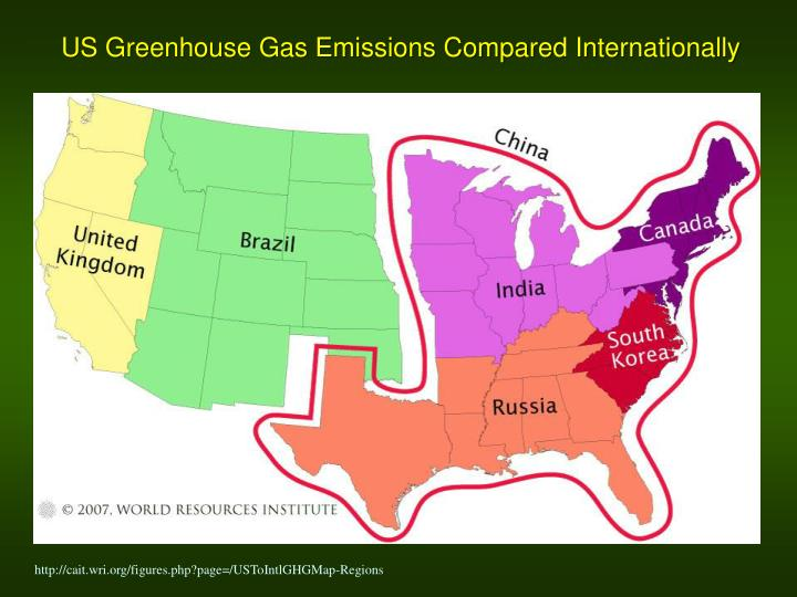 US Greenhouse Gas Emissions Compared Internationally