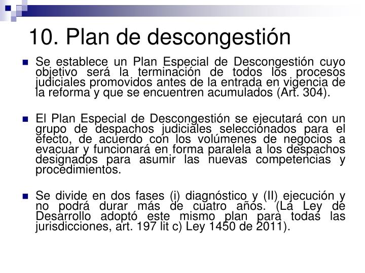 10. Plan de descongestión