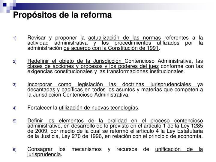 Propósitos de la reforma
