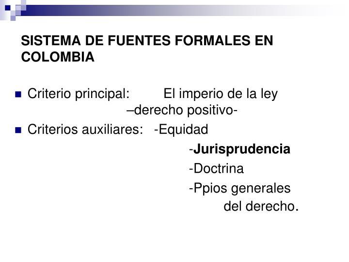 SISTEMA DE FUENTES FORMALES EN COLOMBIA