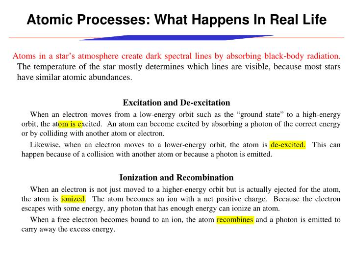 Atomic Processes: What Happens In Real Life