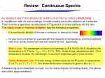 review continuous spectra