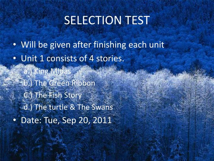 SELECTION TEST