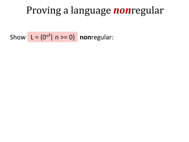 Proving a language