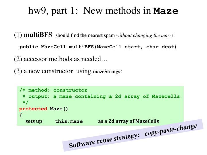 hw9, part 1:  New methods in