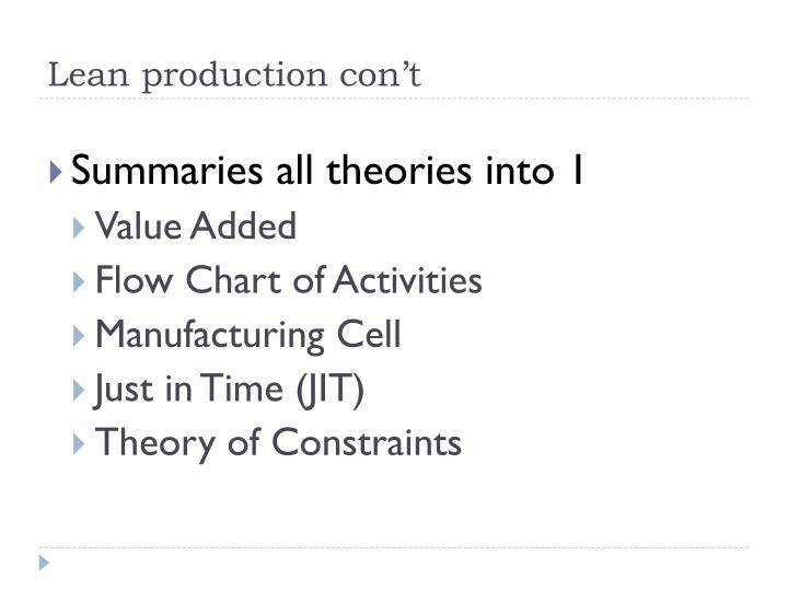 Lean production con't