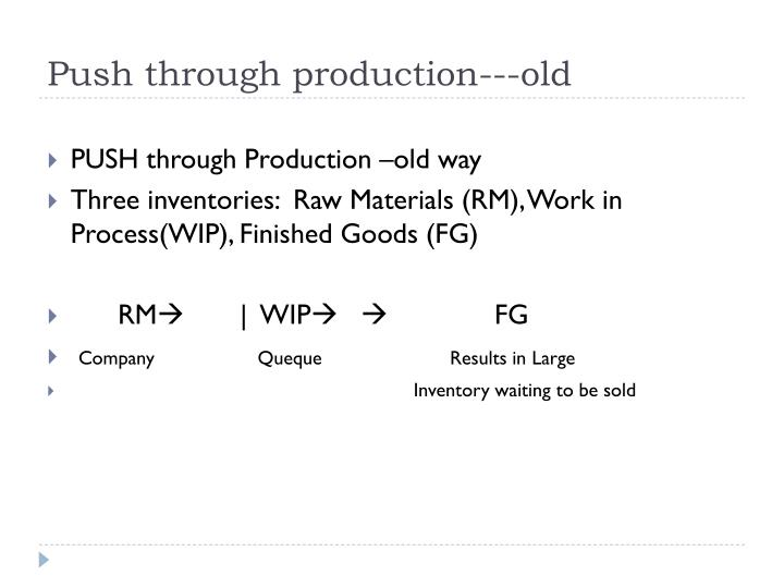 Push through production old