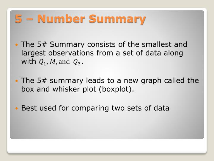 The 5# Summary consists of the smallest and largest observations from a set of data along with