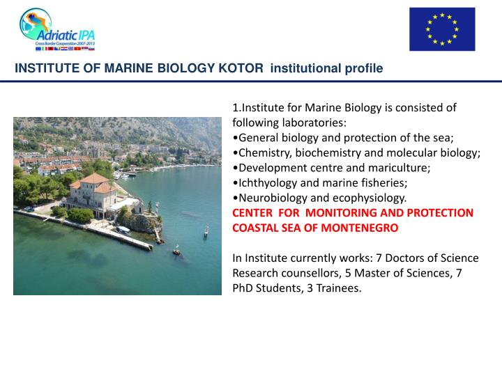 INSTITUTE OF MARINE BIOLOGY KOTOR