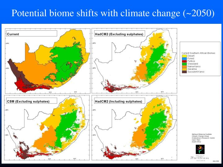 Potential biome shifts with climate change (~2050)