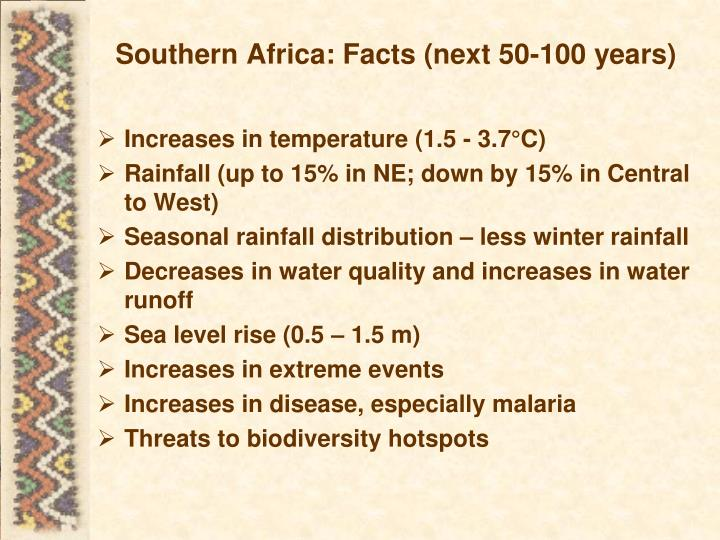 Southern Africa: Facts (next 50-100 years)