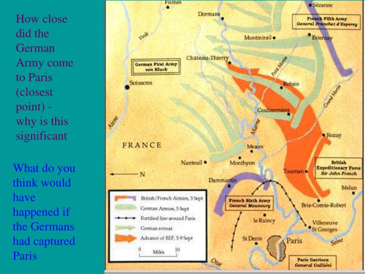 How close did the German Army come to Paris (closest point) - why is this significant