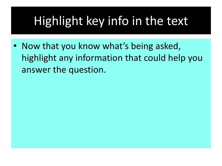 Highlight key info in the text