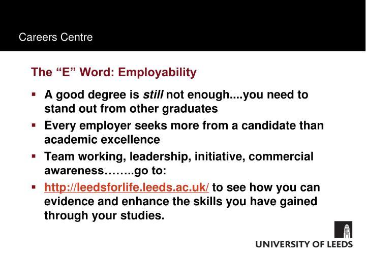 "The ""E"" Word: Employability"
