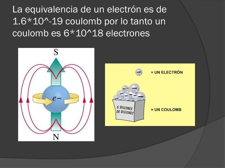 La equivalencia de un electrón es de 1.6*10^-19 coulomb por lo tanto un coulomb es 6*10^18 electrones