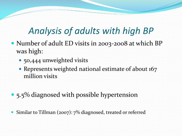 Analysis of adults with high BP