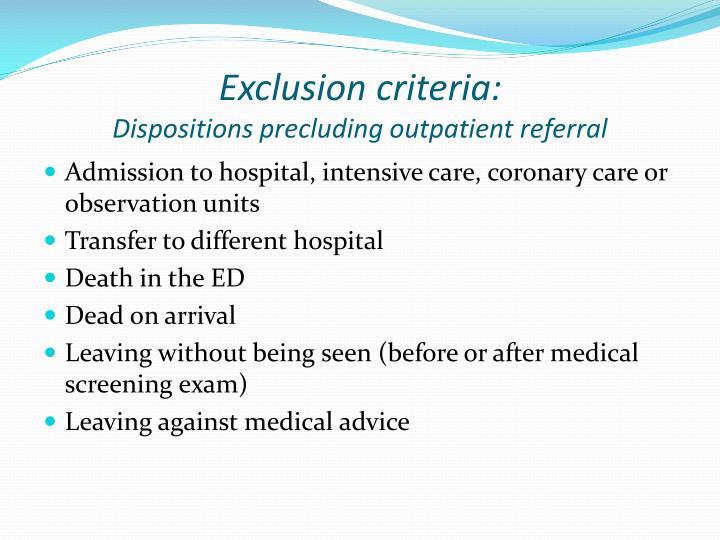 Exclusion criteria: