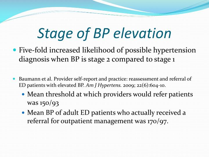 Stage of BP elevation
