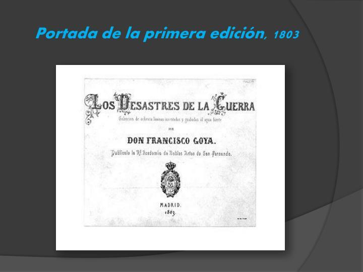 Portada de la primera edición, 1803