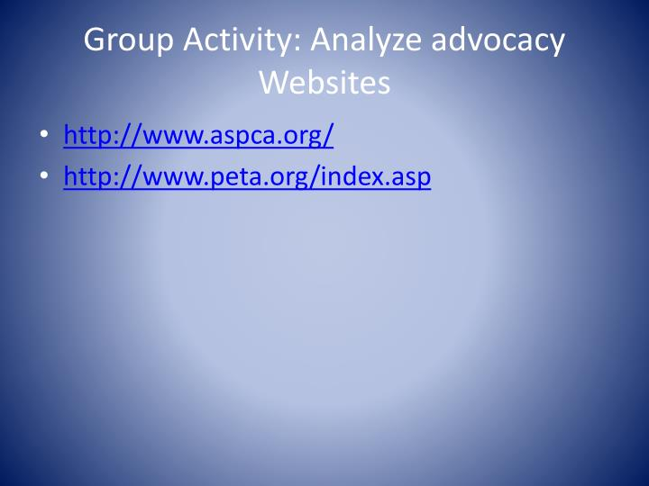 Group Activity: Analyze advocacy Websites