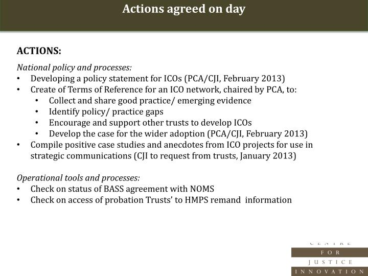 Actions agreed on day