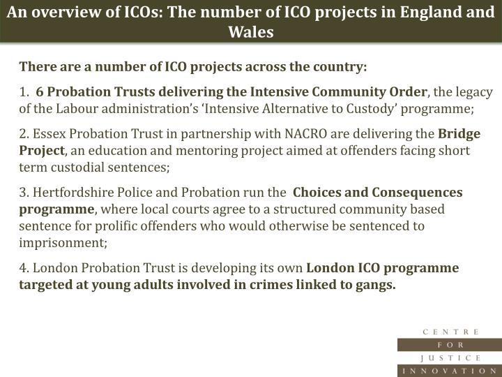An overview of ICOs: The number of ICO projects in England and Wales