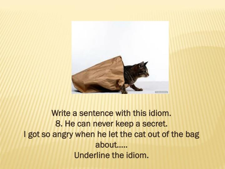 Write a sentence with this idiom.