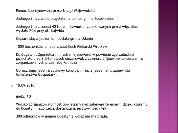 Pomoc koordynowana przez Urząd Wojewódzki: