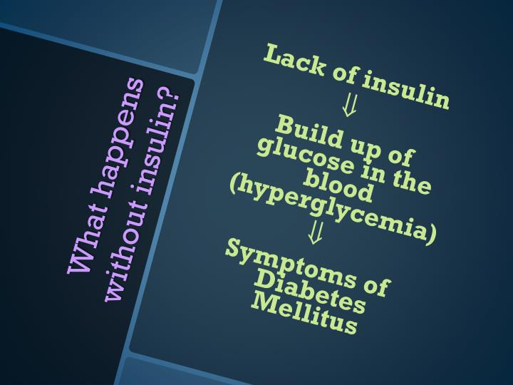 Lack of insulin