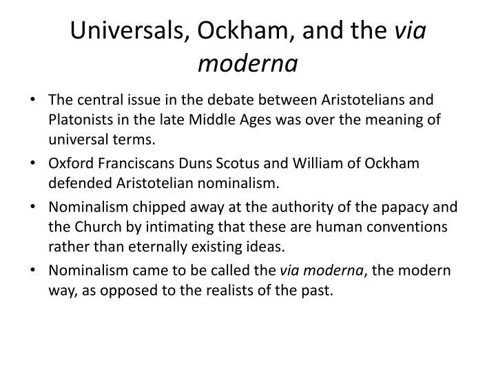 Universals, Ockham, and the