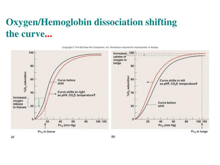 Oxygen/Hemoglobin dissociation shifting the curve