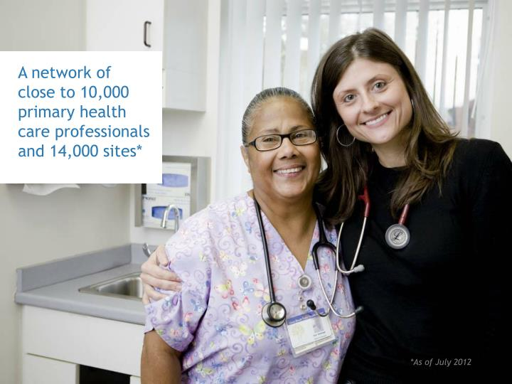 A network of close to 10,000 primary health care professionals and 14,000 sites*