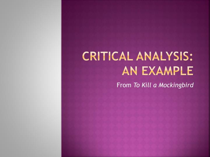 critical analysis on research paper