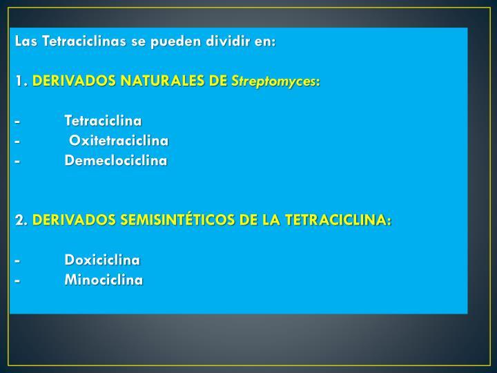 Las Tetraciclinas se pueden dividir en: