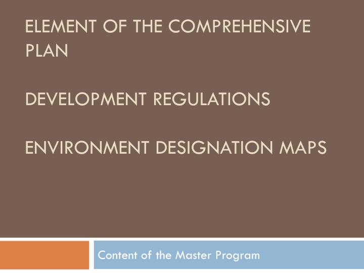 Element of the comprehensive plan