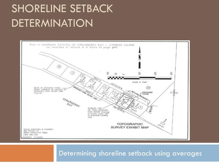 Shoreline setback determination