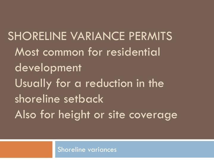 Shoreline variance permits