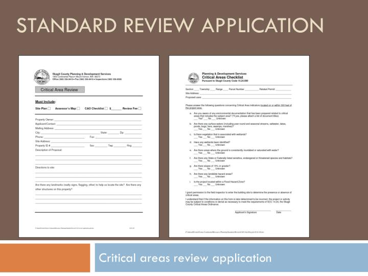 Standard review application