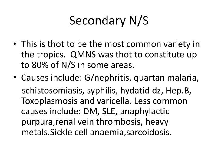 Secondary N/S