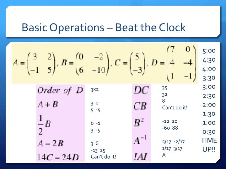 Basic Operations – Beat the Clock