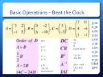 basic operations beat the clock