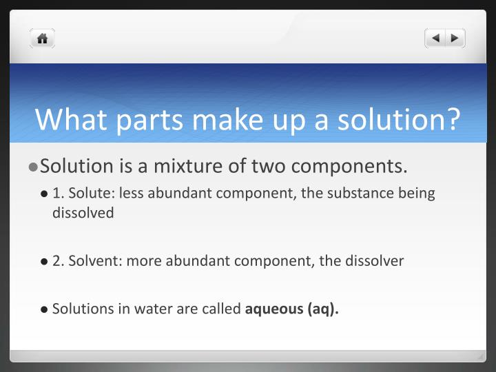 What parts make up a solution?