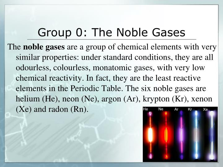 Group 0: The Noble Gases