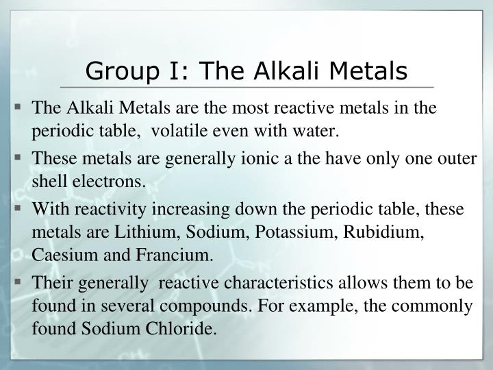 Group I: The Alkali Metals