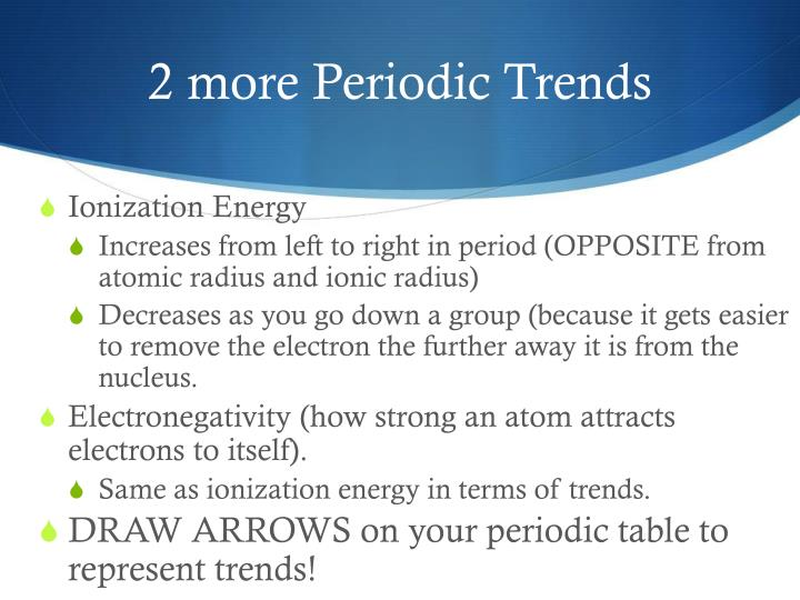 2 more Periodic Trends