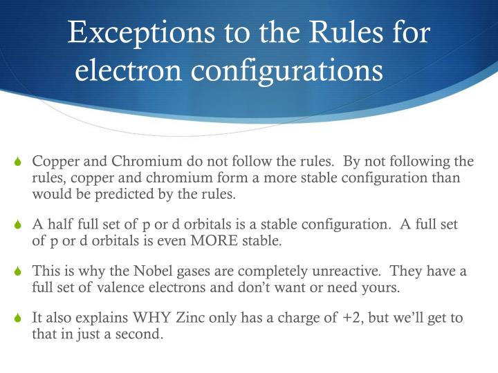 Exceptions to the Rules for electron configurations