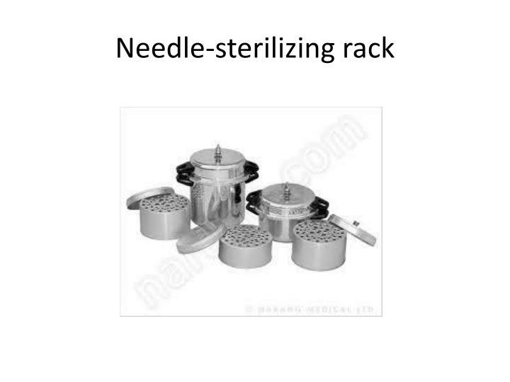 Needle-sterilizing rack