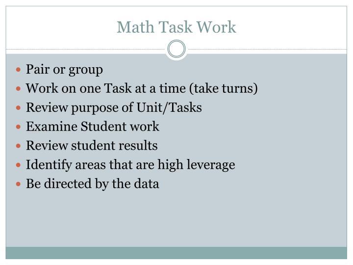 Math Task Work